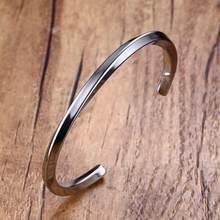 Vnox – Bracelet vintage en acier inoxydable pour homme et femme, bracelet unisexe décontracté torsadé, manchette, bijoux, mobius