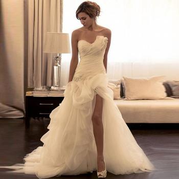 Romantic Organza Mermaid Wedding Dress Asymmetrical Beading Sweetheart Dresses High Slit Sweep Train Bridal Gowns