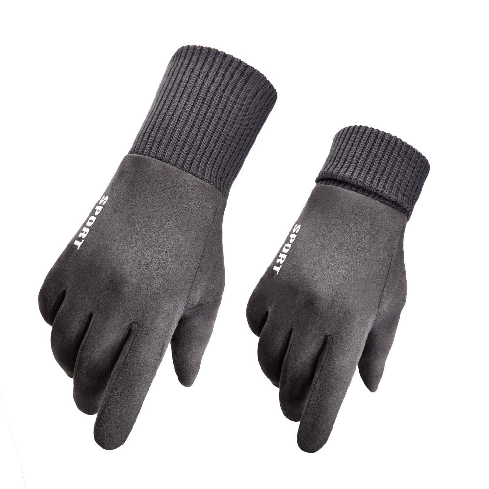 2019 New Layer Suede Men's Thick Warm Gloves Gray Winter Gloves White
