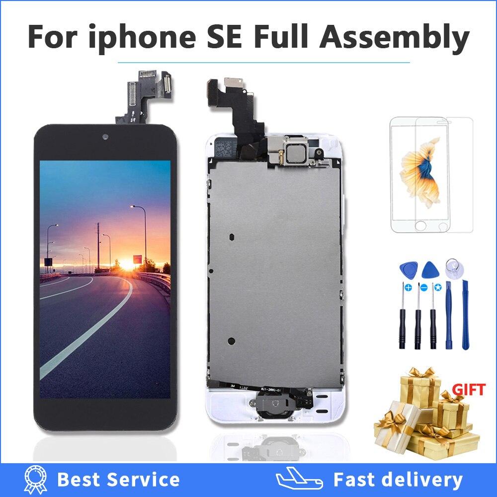 Качество AAAA Полный комплект ЖК-дисплей для iPhone SE сенсорный экран дигитайзер в сборе A1723 A1662 A1724 ЖК-дисплей + Главная Кнопка + фронтальная камер...
