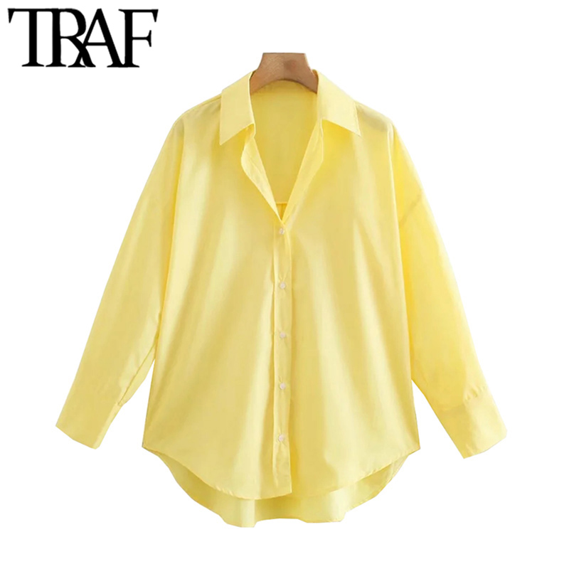 TRAF Women Fashion Loose Asymmetry Poplin Blouses Vintage Long Sleeve Button-up Female Shirts Blusas Chic Tops 4