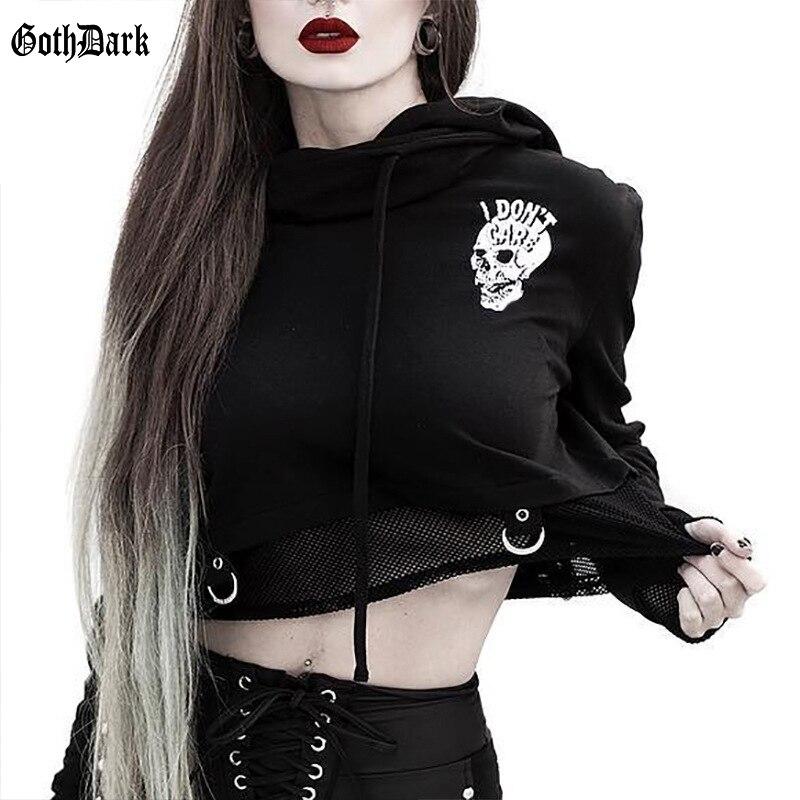 Goth Dark Vintage Black Print Gothic Hoodies Harajuku Punk Grunge Fall 2019 Aesthetic Female Sweatshirts Mesh Patchwork Cropped