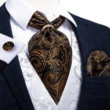 Men Vintage Gold Black Paisley Floral Silk Cravat Ascot Tie Scrunch British Style Wedding Party Necktie Handkerchief Set DiBanGu
