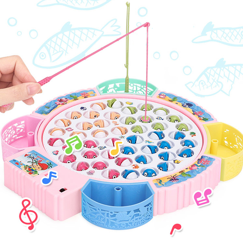 Kids Musical Fishing Toys Electric Rotating Fishing Game Set Fishing Rods Magnetic House Play Toys for Children Gift