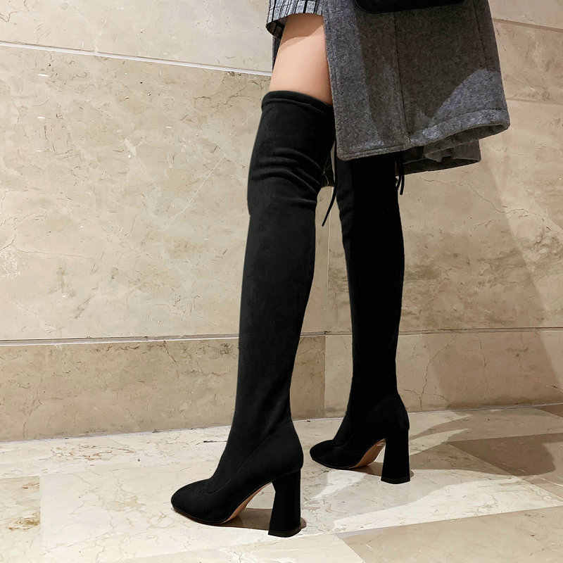 Çıplak Kadınlar için Uyluk Yüksek Çizmeler Moda Seksi Streç Uzun Çizmeler Kadın Sahte Süet Kare Ayak Tıknaz Topuk üzerinde diz Botları 2019