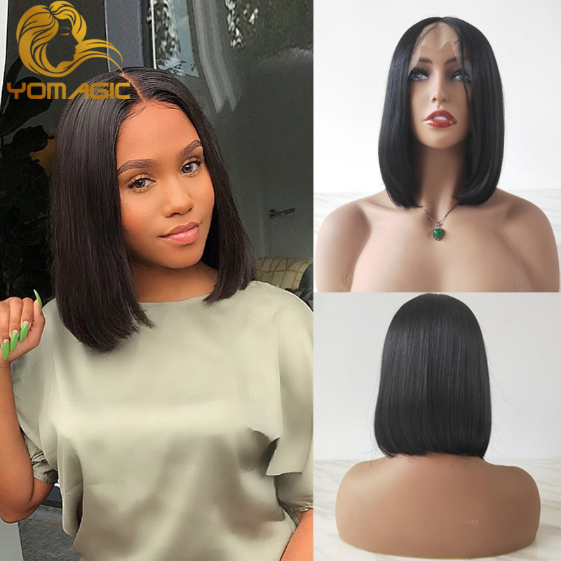 Yomagic Hair Black Color Synthetic Hair Lace Front Wigs With Baby Hair Straight Hair Short BoB Lace Wigs With Pre Plucked