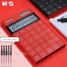 M & g современный тонкий 12 значный калькулятор с двойной мощностью