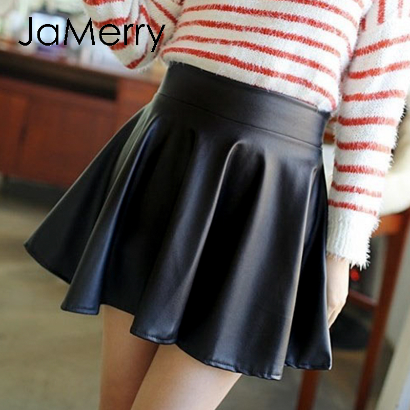 JaMerry Elegant Faux Leather Short Skirt Women Fashion Low Waist A-line Female Black Mini Skirts Club Ladies Bottoms Skirts 2020