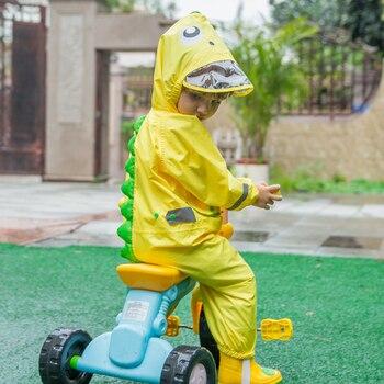 Raincoat Hooded Cartoon Dinosaur Kids One-Piece Rain Coat Baby Tour Rain Gear Children Fashionable Waterproof Jumpsuit CC50YY