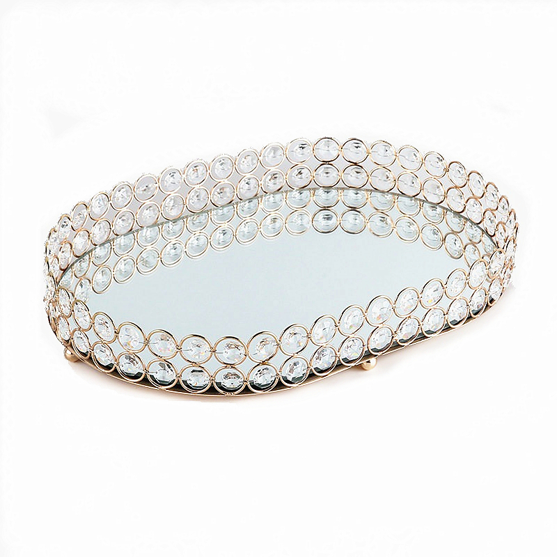 1pcs Wedding Dessert Rhinestone Crystal Holder Cosmetic Storage Kids Snacks Plate Candy Tray Decoration Ornament