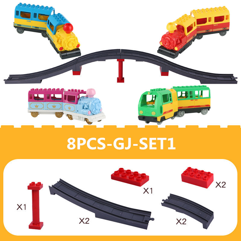 Big Size Duploed Train Viaduct DIY Building Blocks Track Accessories Compatible With LegoINGlys Bricks Toys For Children Gift