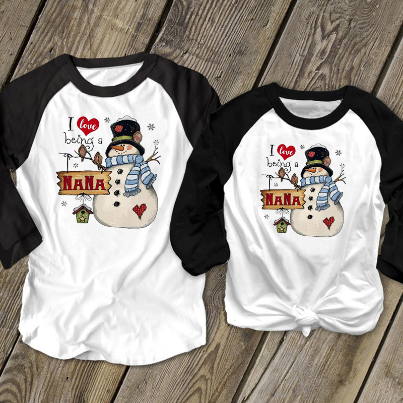 Snowman I Love Being A NANA Christmas Shirt Casual 2019 Vintage Plus Size Tops Gothic Merry Christmas Shirt Aesthetic XXL
