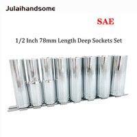 1/2 Inch Drive Deep Socket SAE Size 1/2 9/16 5/8 11/16 3/4 13/16 7/8 15/16 78mm Length CR V