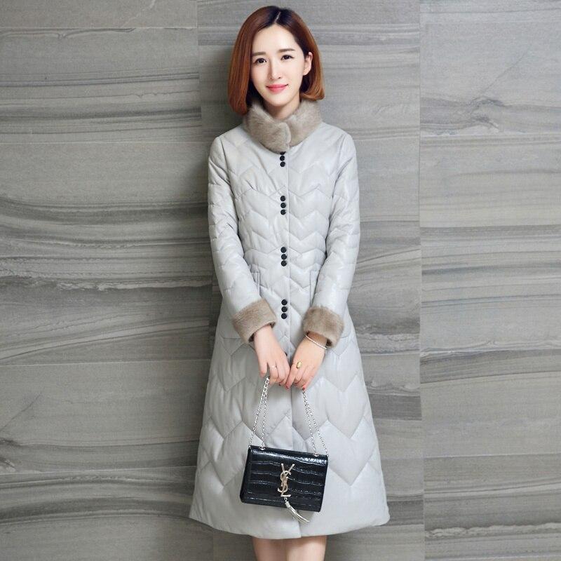 Mink Fur Collar Sheepskin Down Coat Female Real Genuine Leather Jacket Korean Vintage Autumn Winter Coat Women Clothes 2020