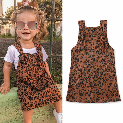 1-6Y Kids Baby Girls Dress Clothes Leopard Print Sleeveless Suspender Bib Straight Overalls Dress Outfits