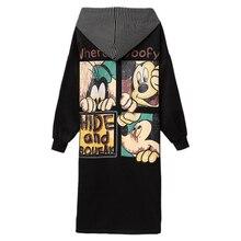 5XL Hooded Jacket Female Coat Autumn Mickey Print Zipper Plus Size Long Coat Ove