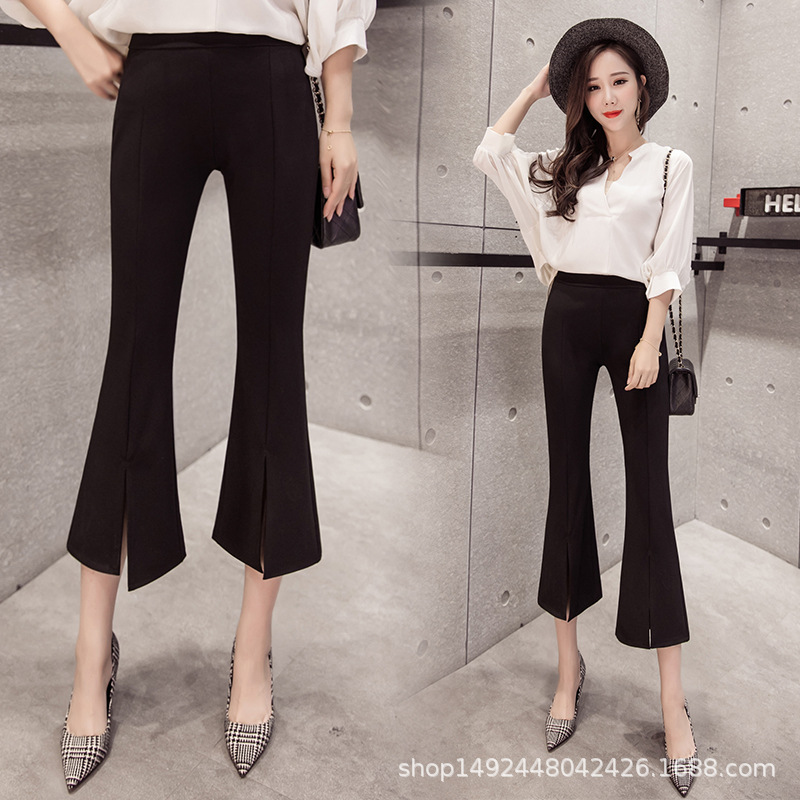 2019 Spring And Summer New Style High-waisted Micro Bell-bottom   Pants   WOMEN'S   Pants   Slim Fit   Capri     Pants   yu wei ku Suit   Pants   We