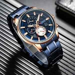 Image 2 - CURREN montre bracelet de sport pour hommes, avec chronographe, horloge de main lumineuse, bracelet en acier inoxydable bleu, tendance