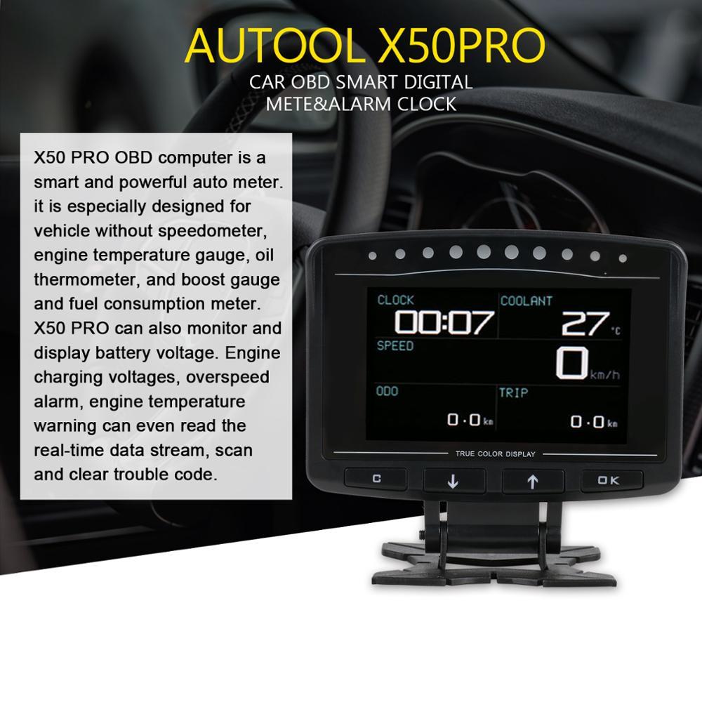 AUTOOL X50plus X50pro X60 רכב הראש למעלה HUD הראש למעלה תצוגה אוטומטי מקרן OBD 2 מד דיגיטלי מד מהירות אבחון כלי
