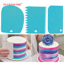 3 шт./компл. высокое качество красочные Многофункциональный нерегулярные зубной кромкой для самостоятельного приготовления мороженого скребок Набор форм для выпечки тортов Кухня инструменты