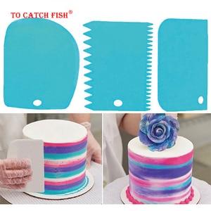 Image 5 - 3 قطعة/المجموعة عالية الجودة الملونة متعددة الوظائف غير النظامية الأسنان حافة Scraper بها بنفسك كريم مكشطة مجموعة أدوات مطبخ قالب الكعكة