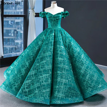 Dubai Green Vintage Sleeveless Wedding Dresses 2020 Off Shoulder Sexy Glitter Bridal Gown HM67004 Custom Made