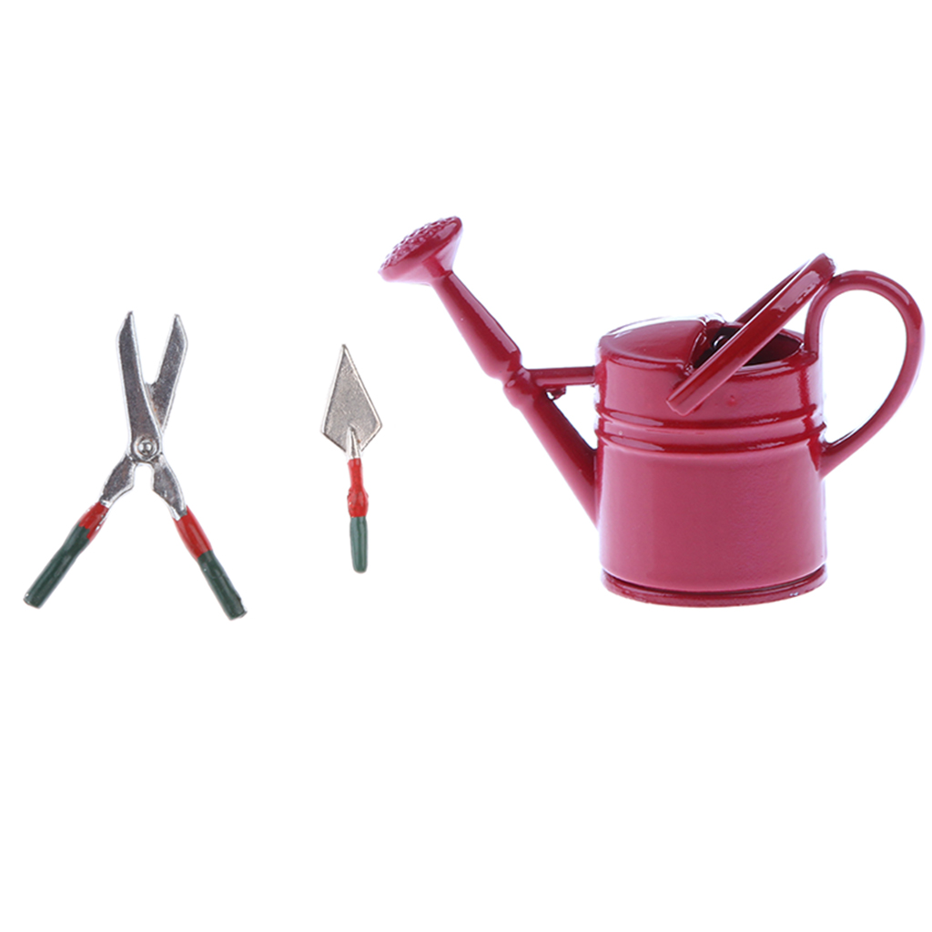 Trowel And Watering Can Dolls House Miniature Metal Shears