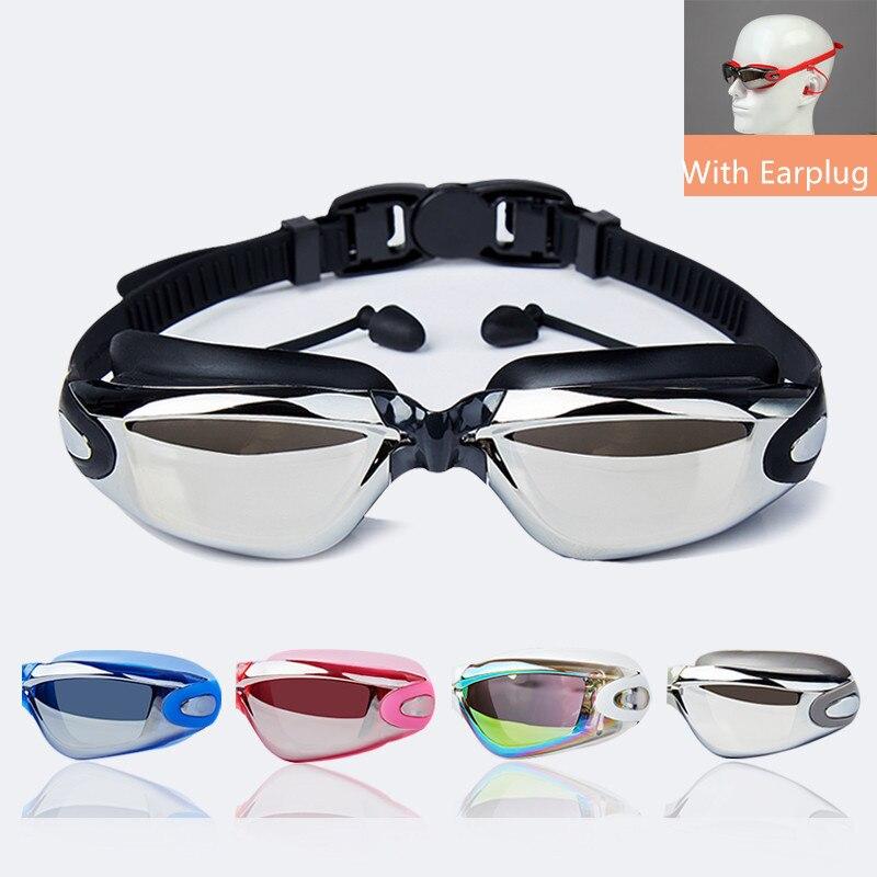 2020 Professional Silicone Myopia Swimming Goggles Anti-fog UV Swimming Glasses With Earplug For Men Women Sports Eyewear