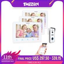 Tuya tmezon sem fio wi fi inteligente ip vídeo campainha intercom sistema 10 Polegada + 2x7 Polegada monitor com 1x720p com fio câmera do interfone