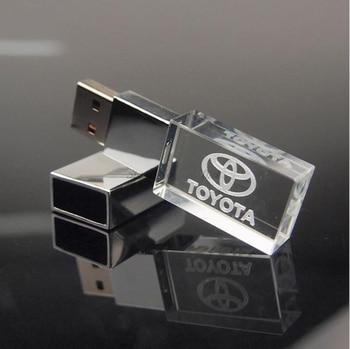 Custom Logo Transparent Crystal USB Flash Drive USB2.0 Pen Drive Exquisite Gift Free Logo