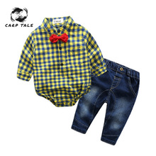Newborn Baby Boy Clothes New Red Plaid Rompers Shirts+jeans Boys Bebes Clothing Set Newborns 3-24 Months