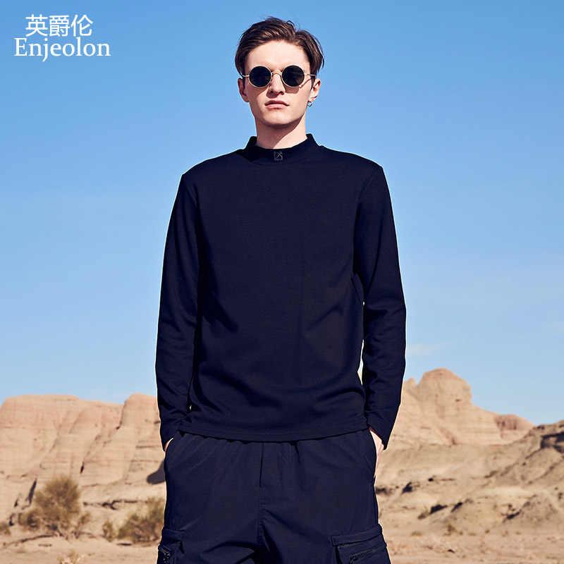 Enjeolon 2019 新メンズ Tシャツ長袖タートルネックカジュアル綿固体黒暖かい Tシャツ男性トップ Tシャツ RST7422-1