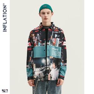 Image 2 - אינפלציה Loose Fit גברים חולצה 2019 FW Harajuku דיגיטלי הדפסת גברים חולצות ארוך שרוול היפ הופ גדול גברים חולצות חולצה 92156W