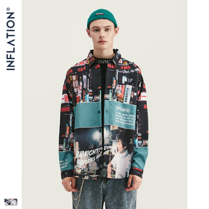 Image 2 - Şişirme gevşek Fit erkek gömlek 2019 FW Harajuku dijital baskı erkekler gömlek uzun kollu Hip Hop boy erkekler gömlek Tops 92156W