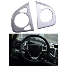 2Pcs Chrome High Configuration Steering Wheel Frame Cover Trim Decoration Fit for Honda CRV 2012 2013 2014 2015 2016(China)