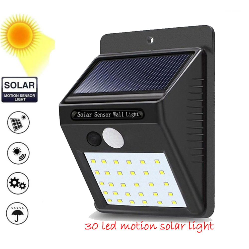 1-4pcs PIR Motion Sensor 30 LED Solar Light Outdoor Solar Powered LED Garden Light Waterproof Emergency Wall Lamp With Cable ene