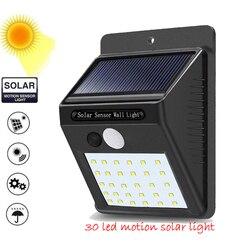 1-4 pces pir sensor de movimento 30 diodo emissor de luz solar ao ar livre movido a energia solar conduziu a lâmpada de parede impermeável da emergência da luz do jardim com cabo ene