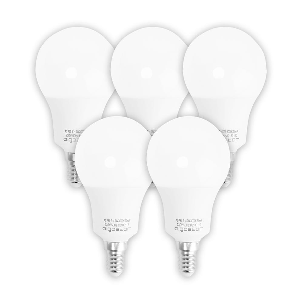 Aigostar - Pack of 5 units <font><b>LED</b></font> light bulbs A5 A55 Spherical Small Attack E14, <font><b>490</b></font> lumens, 3000K [Energy efficiency class A +] image