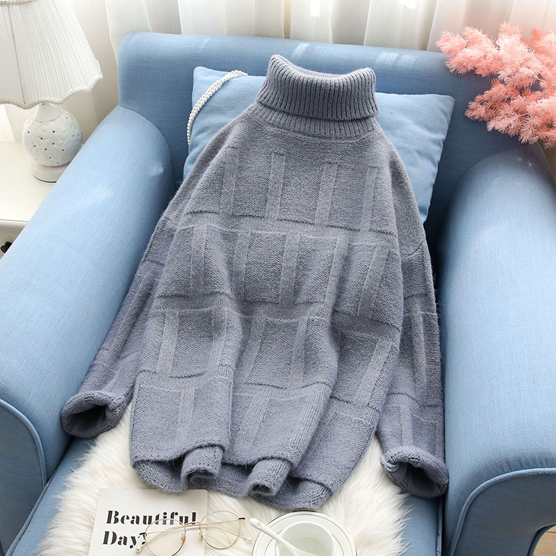 Solid Turtleneck Women Sweater And Pullovers Loose Casual Thicken Warm All Match Winter Lady Elegant Outwear Coat Tops