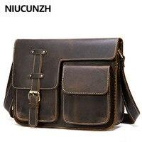 NIUCUNZH Messenger Bag Men's Shoulder Bag Genuine Leather Men's Bags Crazy Horse Male Man Vintage Crossbody Bags Leather Handbag