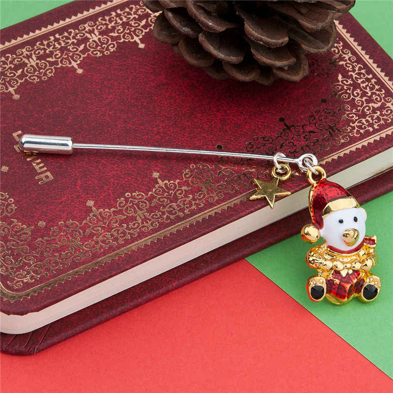 Lucu Pin Bros Topi Natal Bintang Bear Silver & Gold, putih & Merah Enamel Perhiasan Hadiah untuk Wanita Gadis Teman 1 Buah