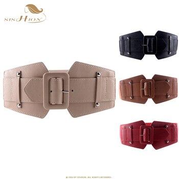 SISHION Vintage Wide Belts for Women Famous Brand Designer Elastic Party Belts Women's Red Camel Black Costume Belts VB0007