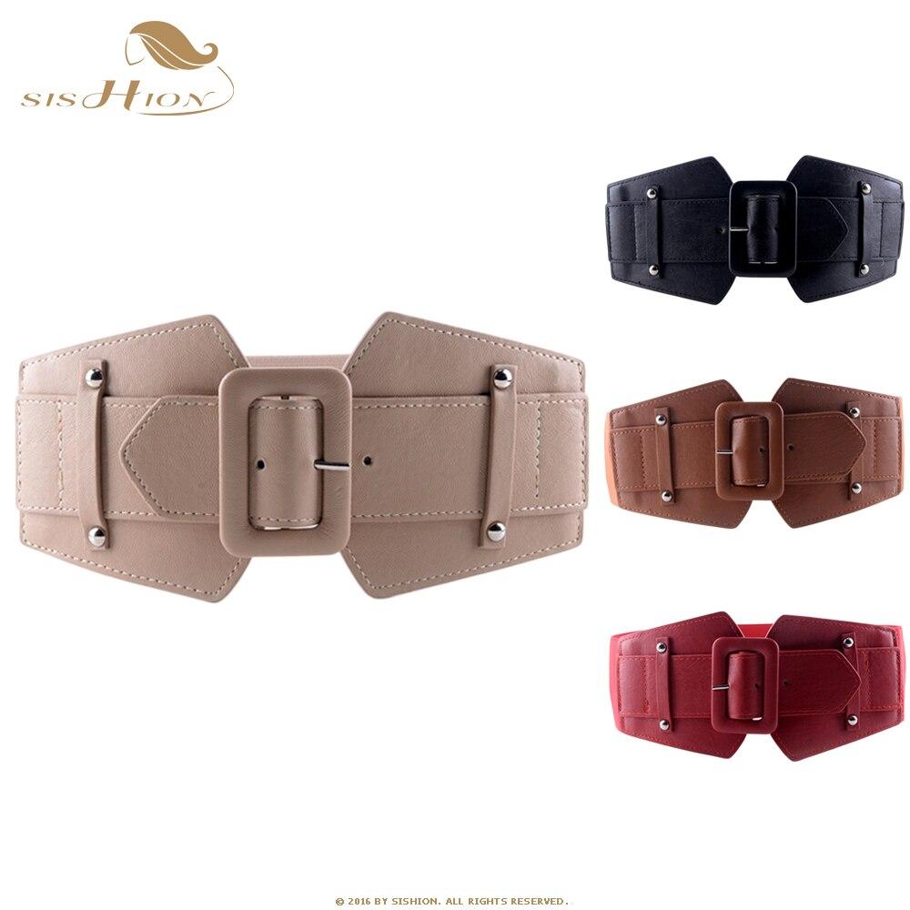 SISHION Vintage gran cinturones para mujer famosa marca diseñador parte elástica Cinturones Mujer camello rojo traje negro cinturones VB0007