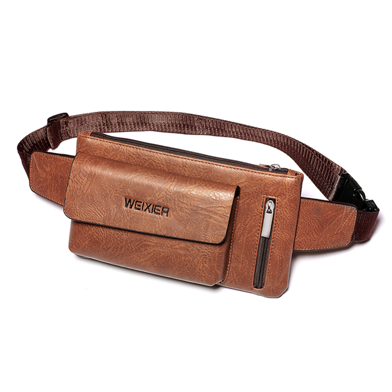 New Luxury Brand Waist Bag Men Leather Fanny Pack Chest Bag Male Casual Belt Sling Crossbody Bags Bum Bag Belly Waist Packs