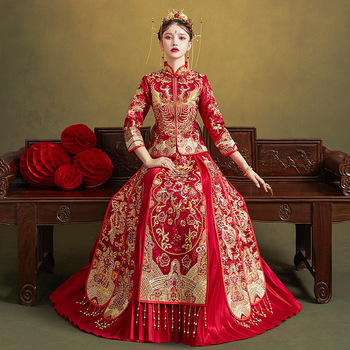 High Quality Embroidery Add Rhinestone Women Bride Wedding Dress Vintage Button Cheongsam Oriental Classic Tang Suit Vestidos