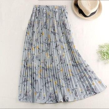 Floral Print Long Maxi Skirt Womens Fashion 2020 New Summer High Waist Pleated Female Boho Holiday Beach Chiffon Sun