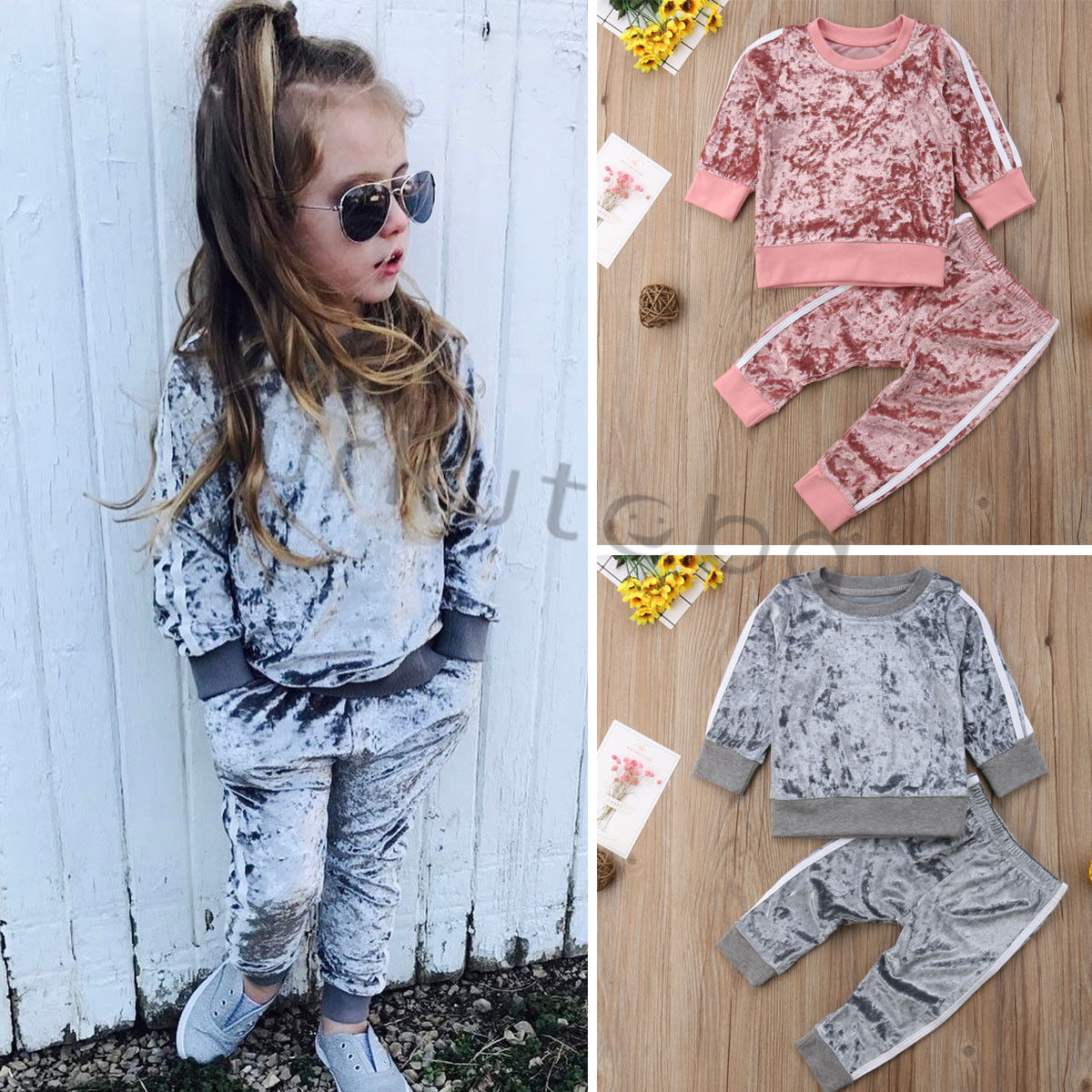 >New <font><b>Baby</b></font> <font><b>Girls</b></font> Clothes Gold Velvet Long Sleeve Suit Boys Clothing 2pcs <font><b>Kids</b></font> Clothing Toddler Winter Clothes <font><b>Girls</b></font> Fall Outfits