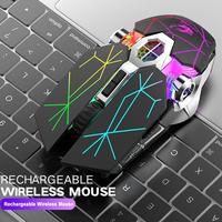 Rato sem fio do jogo 2.4g bluetooth 5.0 2400 dpi usb recarregável mouse 6 botões para windows computador pc