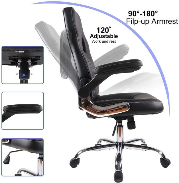 Gaming office chair Task Swivel Executive Leather Gaming Chairs High Back with Padded Seat Armrests and Rolling Casters 6