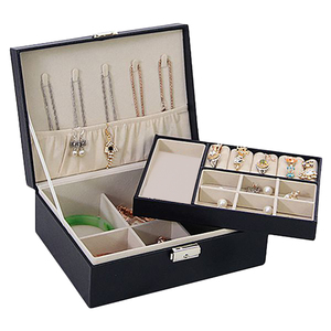 Image 1 - Grote Sieraden Capaciteit Opbergdoos Oorbellen Ketting Box Lederen Ring Sieraden Doos